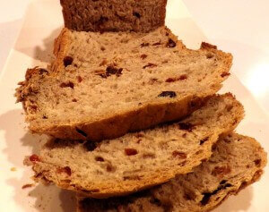 Raisin, Cranberry, Date, Nut Bread - sliced