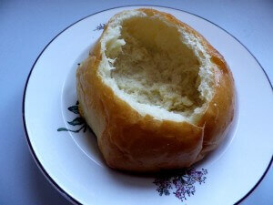Hollowed out bread bowl