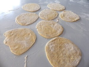 Pita bread 3 - flattened for the oven