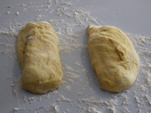 Challah Bread Dough 1 - Raw dough in 2 pieces