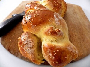 Challah bread loaf baked 10