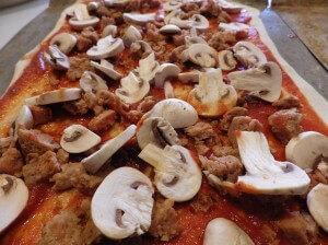 PREP - Sausage and mushroom pizza 2