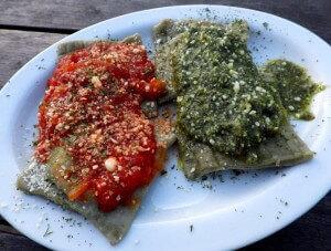 11a - ravioli with pesto and marinara sauce