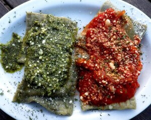 11d - ravioli with pesto and marinara sauce