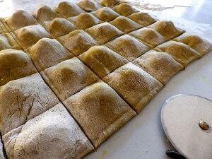 8- ravioli sheet cut into individual raviolis