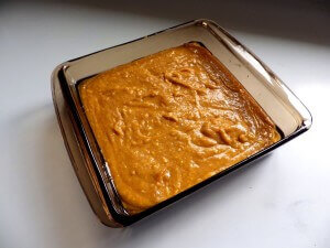 2 - spiced pumpkin bread batter in baking dish