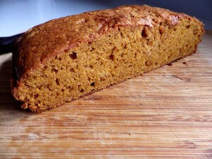 5 - spiced pumpkin bread sliced in half to reveal  texture