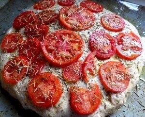 1 - Tomato focaccia ready for the oven