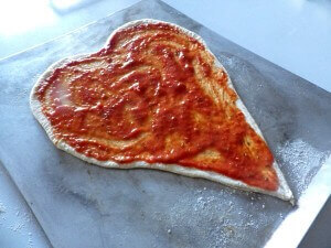 6 - heart pizza with tomato sauce