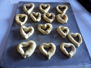 6 - heart pretzels ready for glazing and the oven